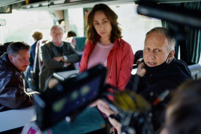 Behind the scenes på ROSE, Anders W. Berthelsen, Søren Malling, Sofie Gråbøl og instruktør Niels Arden Oplev. Foto: Martin Dam Kristensen